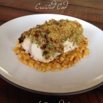 Green Garlic & Cashew Crusted Cod with Roasted Corn