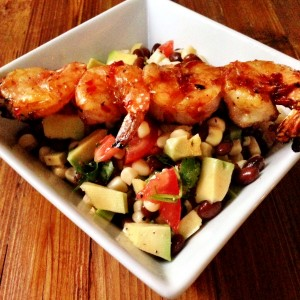 Foodie  Friday: Perfect Picnic Avocado, Black Bean & Corn Salsa with Grilled Shrimp