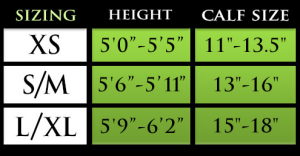 Pro Compression Calf Sleeve Sizing Chart