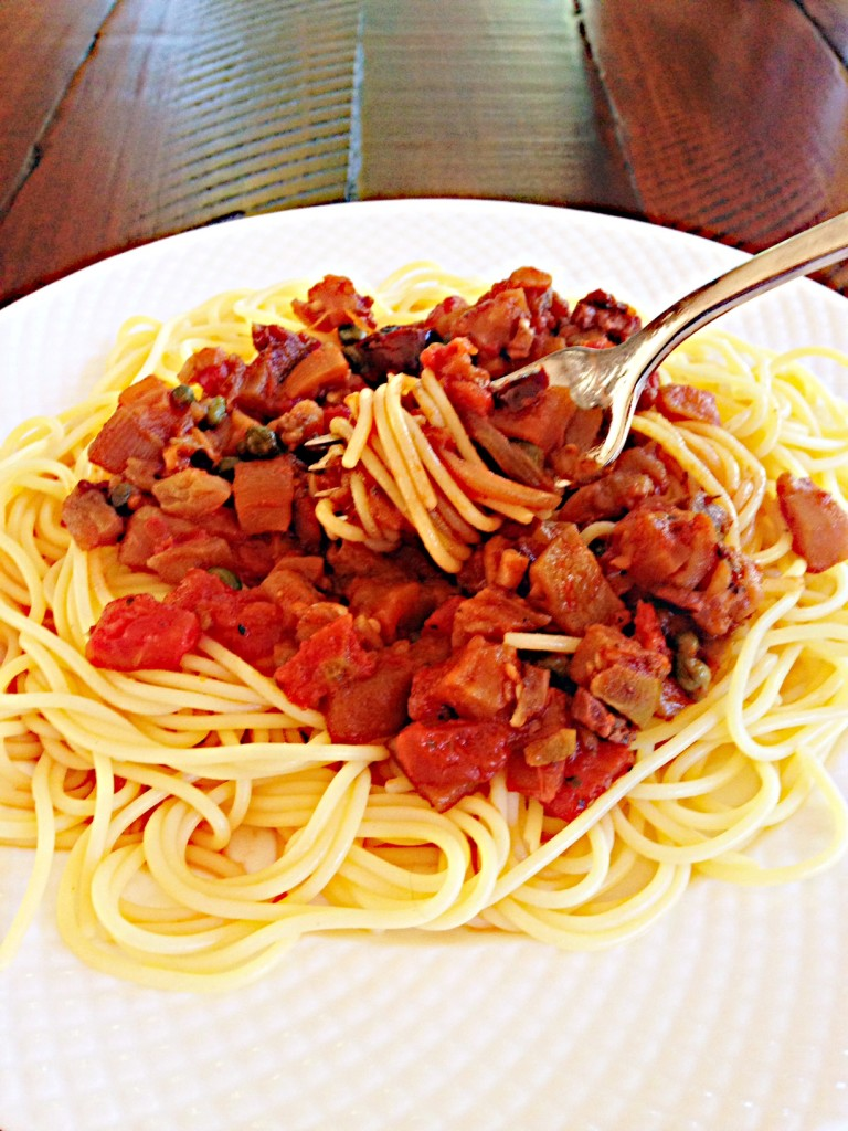 Meatless Monday: Hot Caponata over Spaghetti