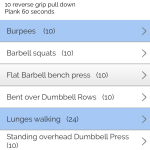 bodyweight highlighted in blue &  weighted exercises  highlighted in white