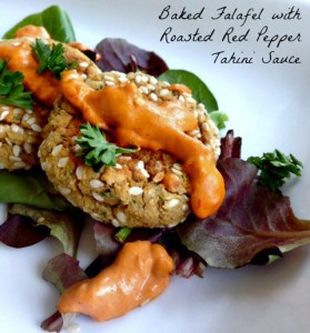 Baked Falafel with Roasted Red Pepper Sauce. Gluten Free, Vegan, Meatless Monday