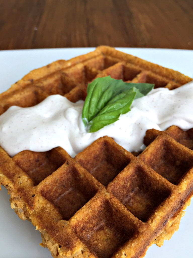 Sweet Potato Waffle with Cinnamon Coconut Cream Sauce {Grain Free, Dairy Free, Gluten Free, Paleo}