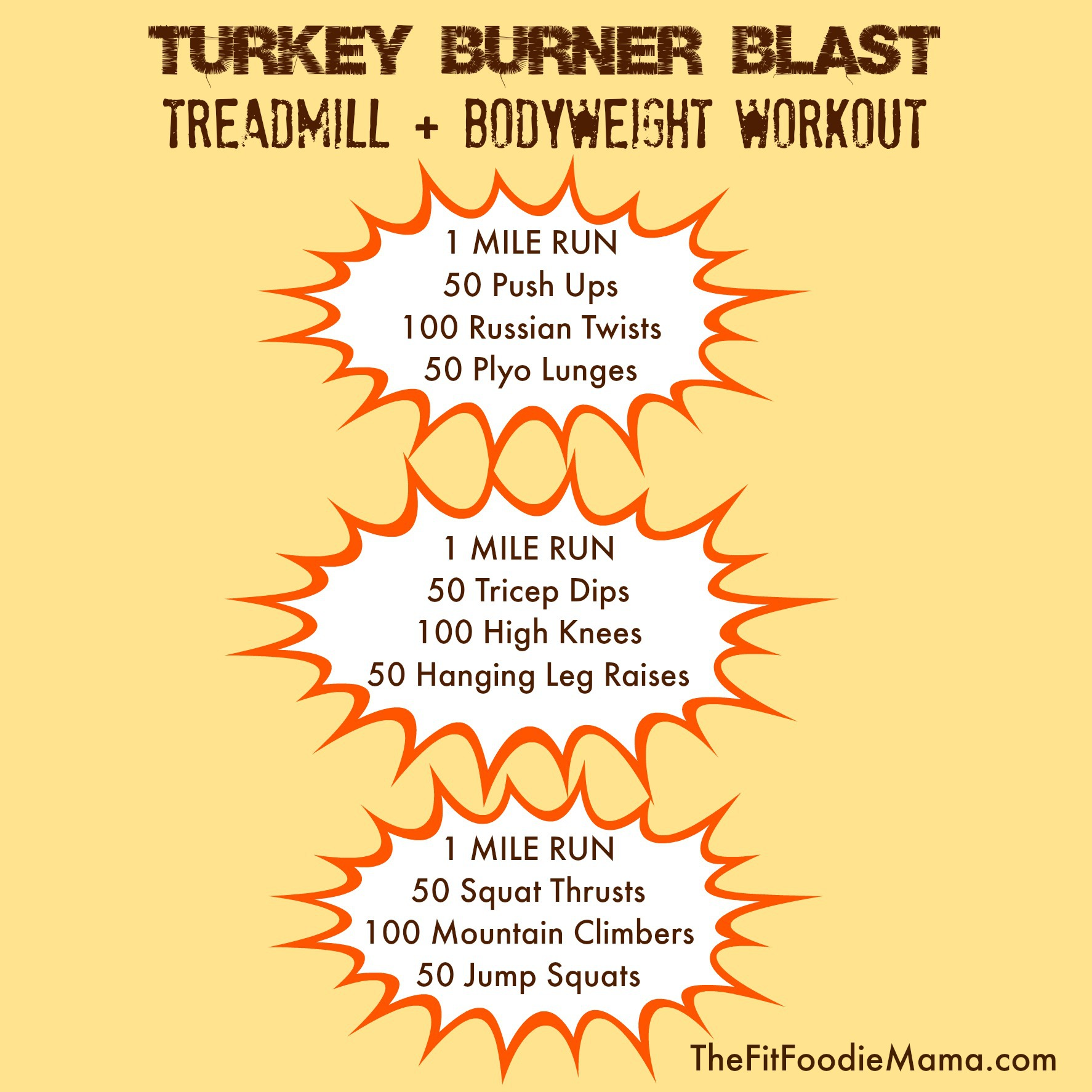 Turkey Burner Blast Treadmill Bodyweight Workout