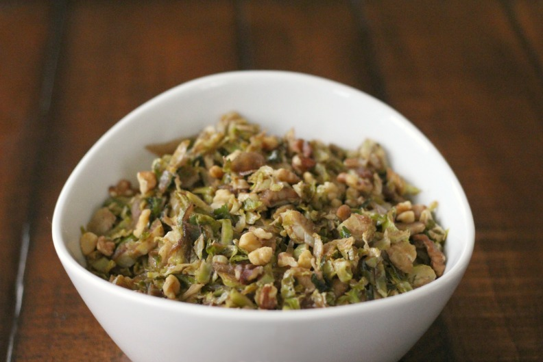 Meatless Monday: Warm Balsamic Brussels Sprouts + Pears Slaw