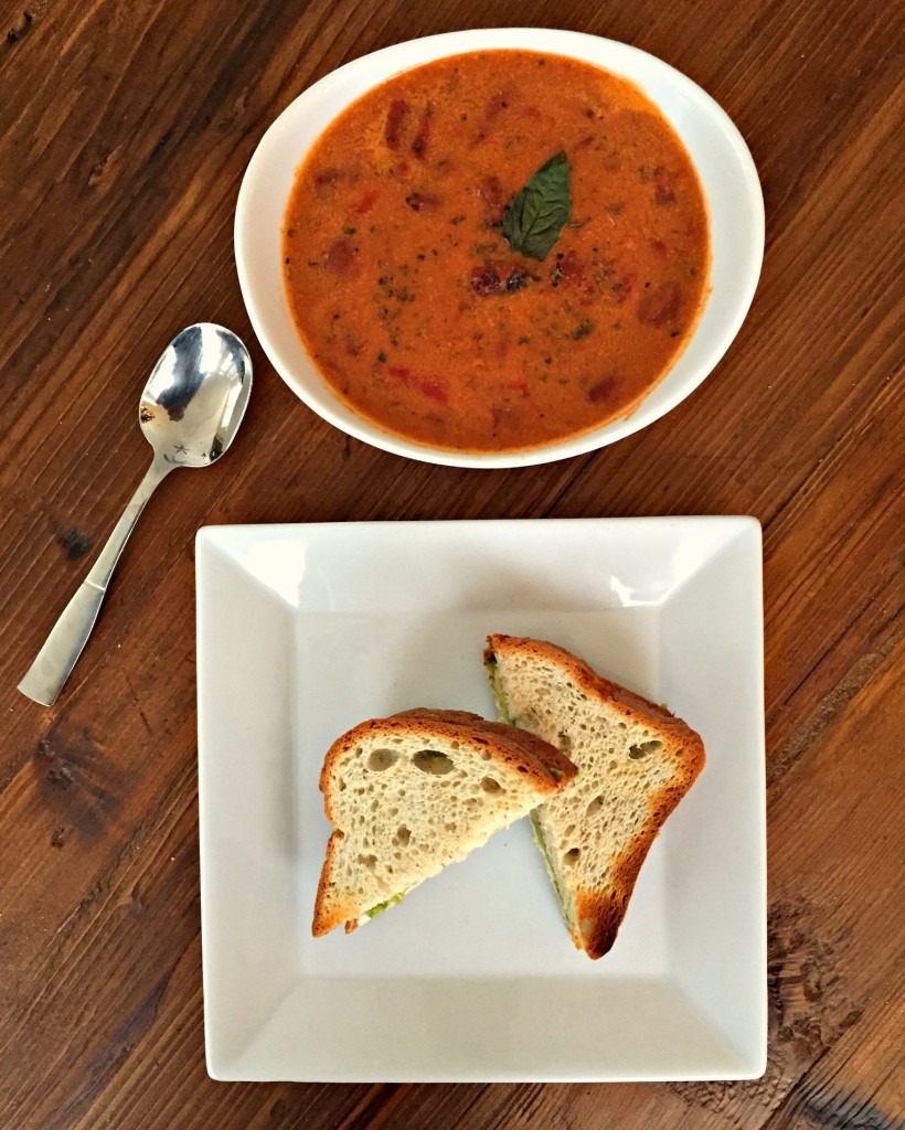 Toasted Goat Cheese and Avocado Sandwich with Creamy Fire Roasted Tomato Soup