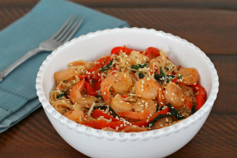 Thai Basil Shrimp with Rice Noodles