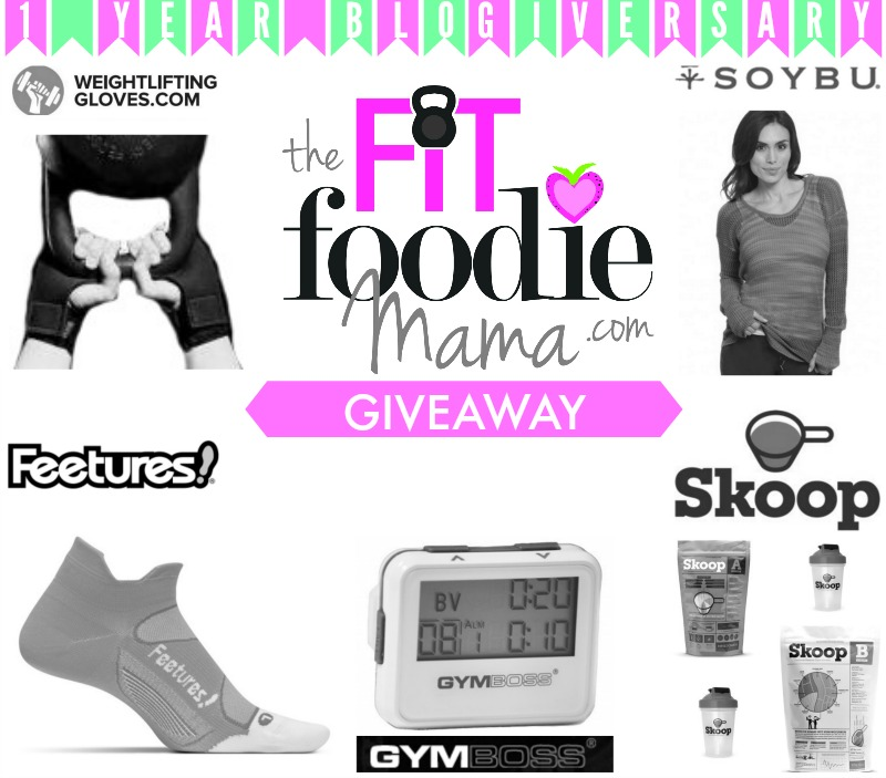 The Fit Foodie Mama Blogiversary Giveaway | @Soybu, @HealthySkoop, @Gymboss, @Feetures, Weighliftinggloves.com