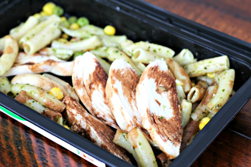 Fork2Fit Brown Rice Pesto Pasta with Balsamic Chicken and Mixed Vegetables