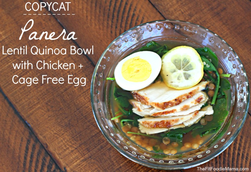 Copycat Panera Lentil Quinoa Bowl with Chicken + Cage Free Egg {Gluten Free} via @FitFoodieMama
