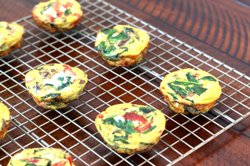Spinach, Mushroom + Red Pepper Omelet Muffin {Gluten Free, Dairy Free}