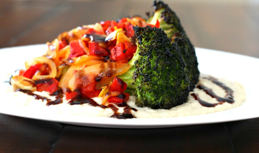 Roasted Broccoli with White Bean Puree & Balsamic Glaze {Gluten Free, Vegan} #MeatlessMonday via @FitFoodieMama