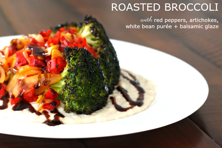 Meatless Monday: Roasted Broccoli with White Bean Puree {Gluten Free, Vegan}