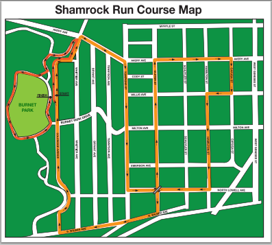 Tipperary Hill Shamrock Run Course Map
