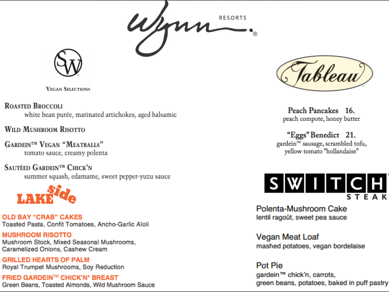 Wynn Resorts Vegan + Vegetarian Menu