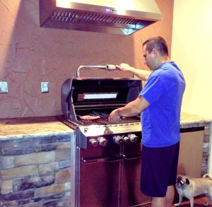 Hubby christening his new indoor grill a few years ago.