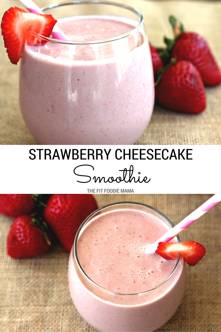 Vegan Strawberry Cheesecake Smoothie Recipe- it's like dessert in a glass, but it's healthy! Made with dairy free milk , cashews and farm fresh strawberries, it's the perfect way to refuel after a hot summer's run! TheFitFoodieMama.com