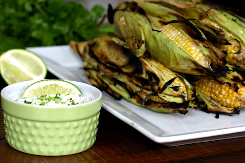 Grilled Corn with Dairy Free Cilantro Lime Butter via @FitFoodieMama