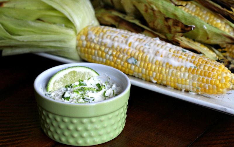 Grilled Corn with Cilantro-Lime Butter {Dairy Free} via @FitFoodieMama