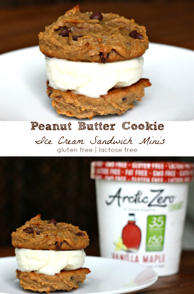 Peanut Butter Cookie Ice Cream Sandwich Minis {gluten free, vegan}