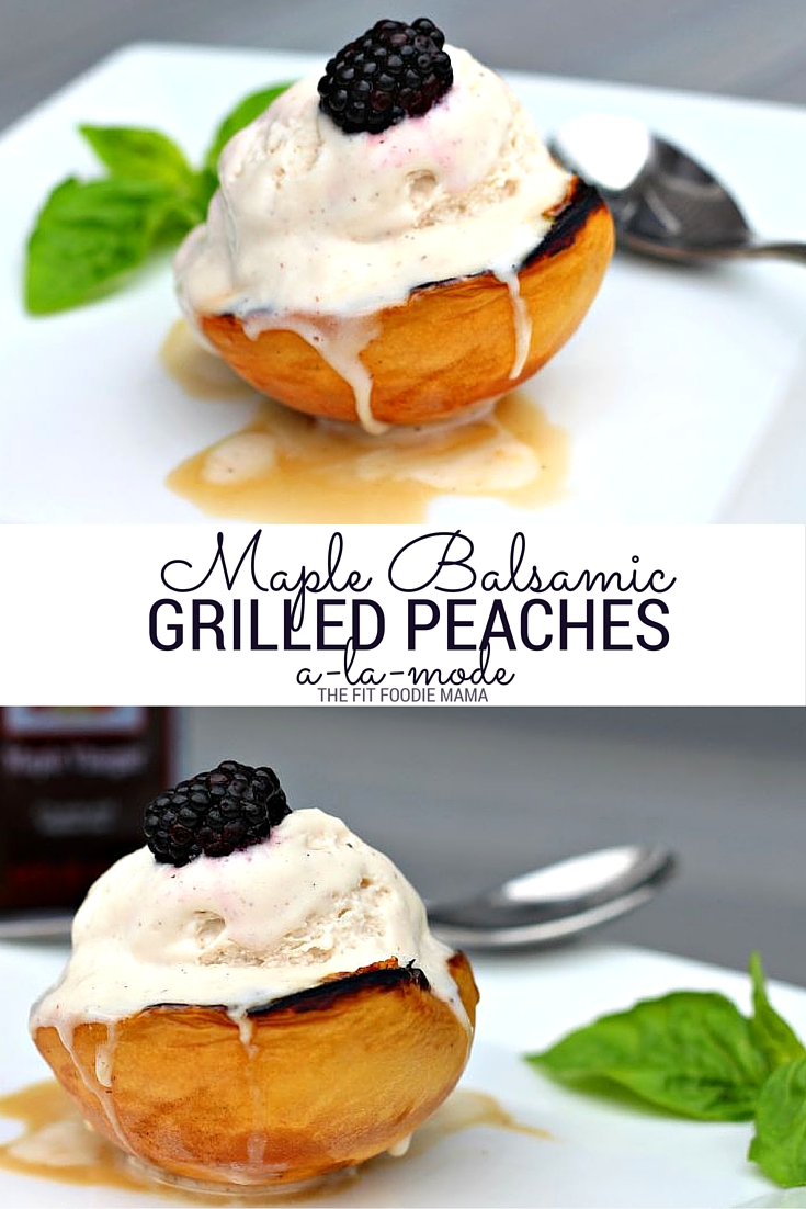 These Maple Balsamic Peaches a la mode is the perfect gluten free and vegan summer treat! Find the recipe on TheFitFoodieMama.com
