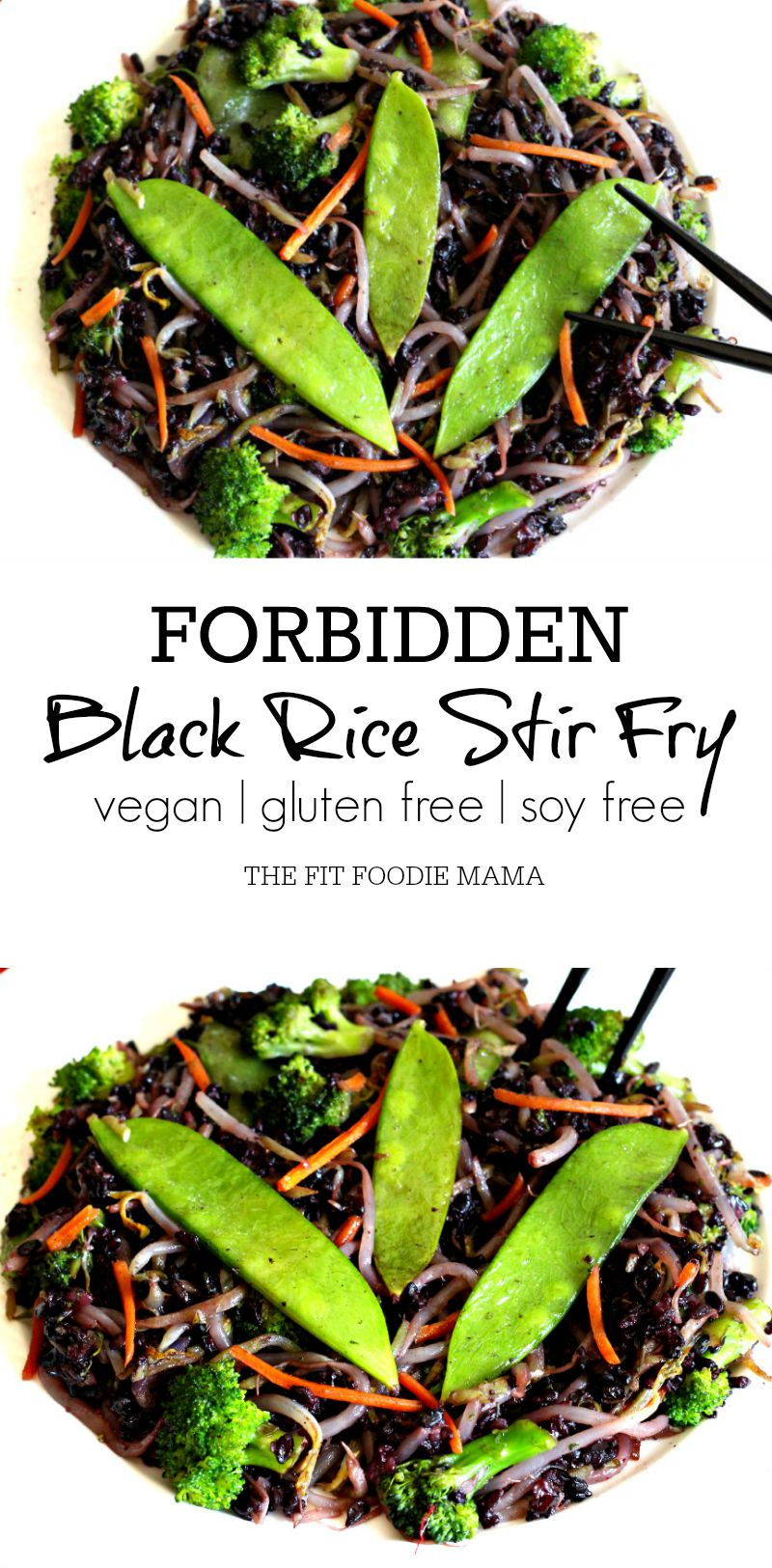 Fatigue Fighting Forbidden Black Rice Stir Fry { gluten free, vegan, soy free, low histamine, healthy, Meatless Monday} via @fitfoodiemama