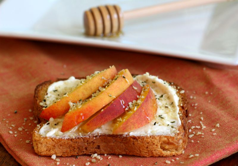 Hemp and Honey Peaches 'N Cream on Toast. Gluten Free| Vegan Cream Cheese | Healthy Breakfast, Gluten Free Breakfast, Meatless Monday
