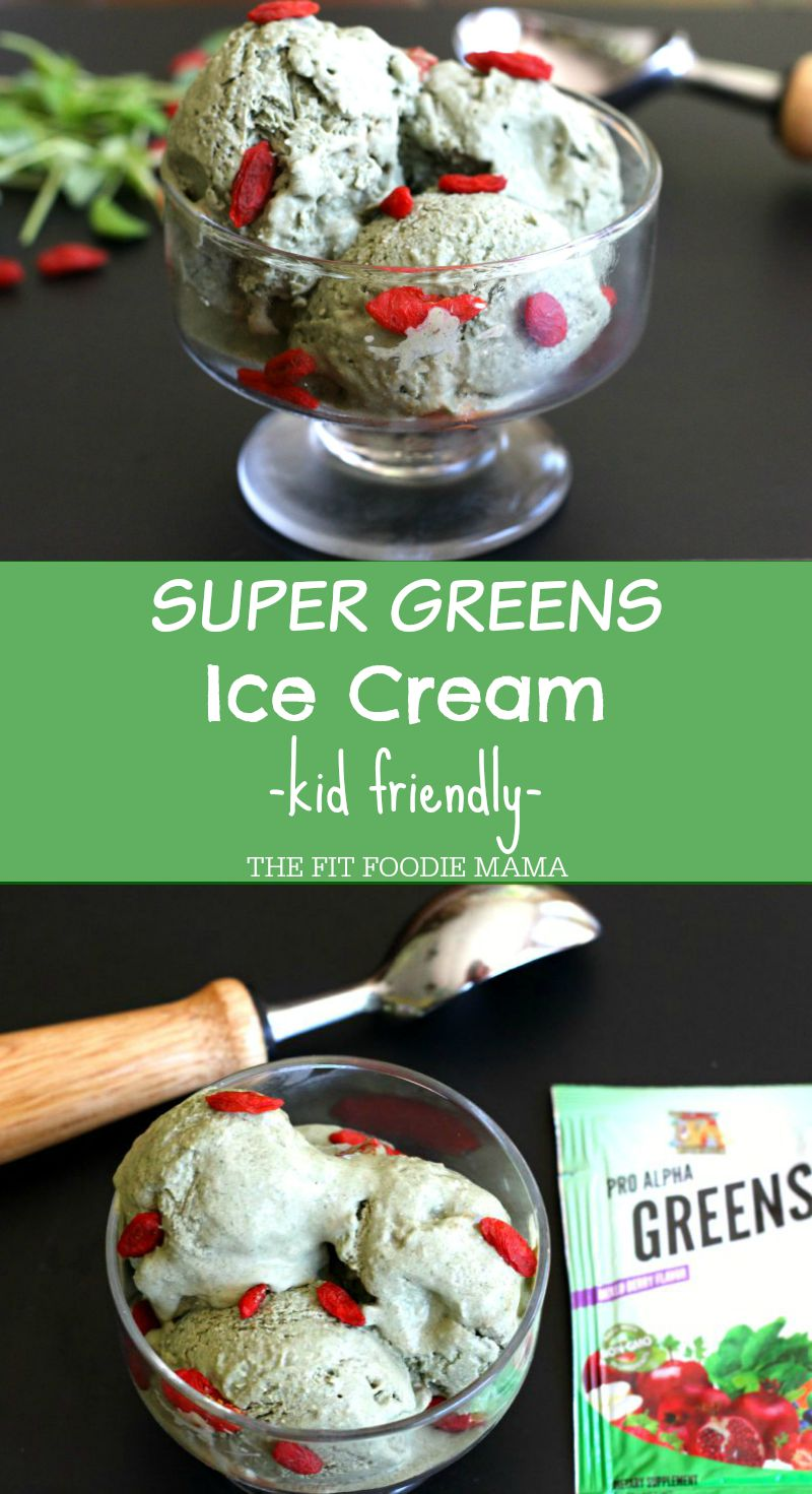 Pro Alpha Super Greens Ice Cream {coconut ice cream, gluten free, soy free, dairy free, kid friendly}