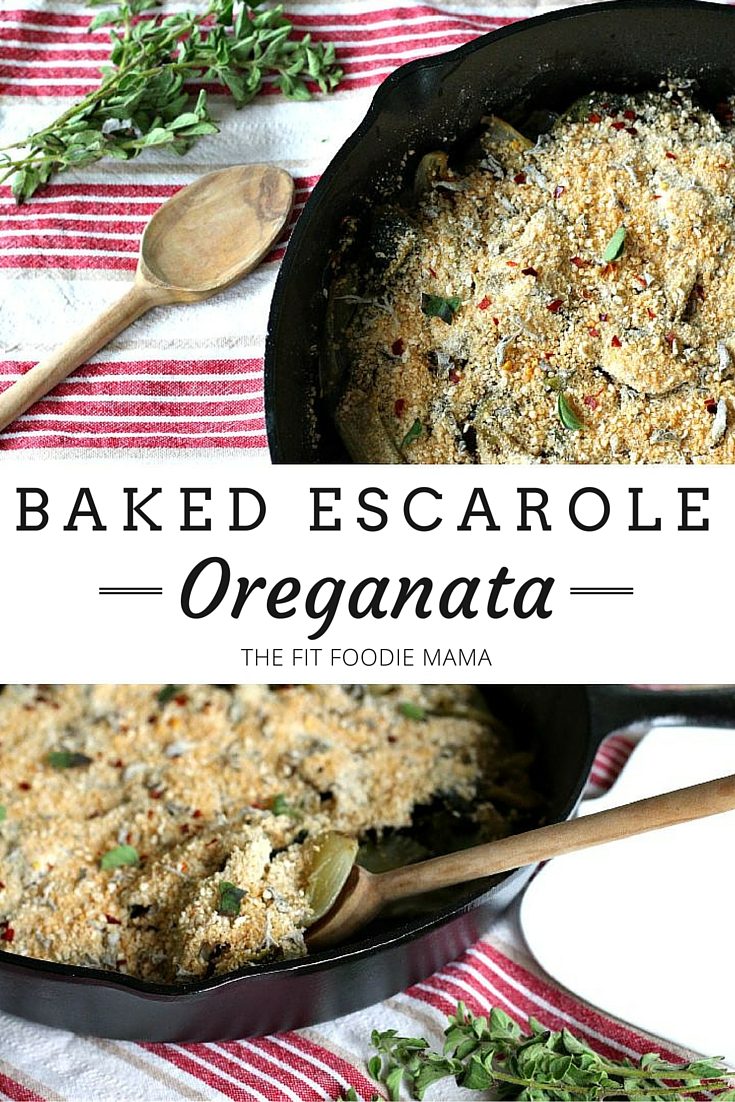 Baked Escarole Oreganata Recipe {Meatless Monday, Gluten Free, Vegan, Healthy Side Dish, Italian Recipe, Meatless Meal}