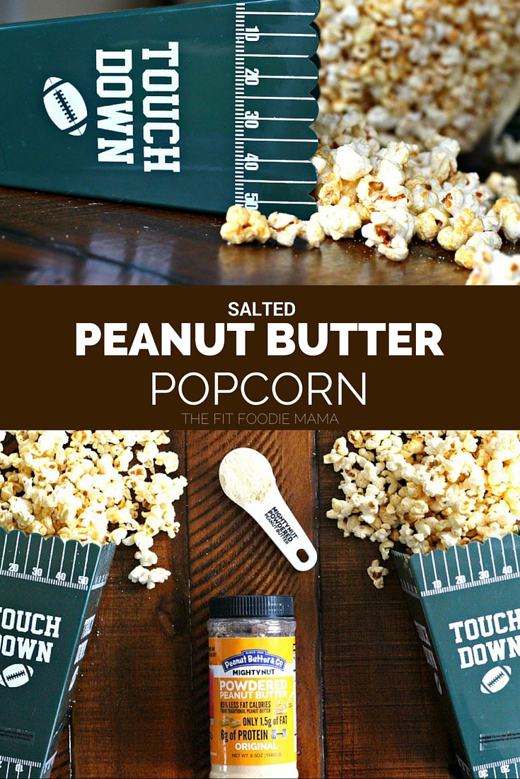 Low Fat Salted Peanut Butter Popcorn {Meatless Monday, Football Snack, Healthy, Gluten Free, Tailgating Recipe}