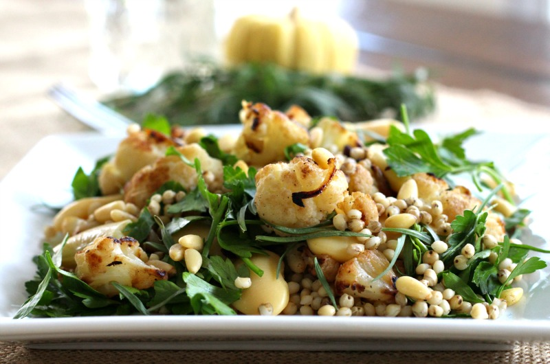 Caramelized Cauliflower and Herbed Sorghum Salad Recipe {Gluten Free, Vegan, Winter Salad, Fall Salad, Vegetarian}
