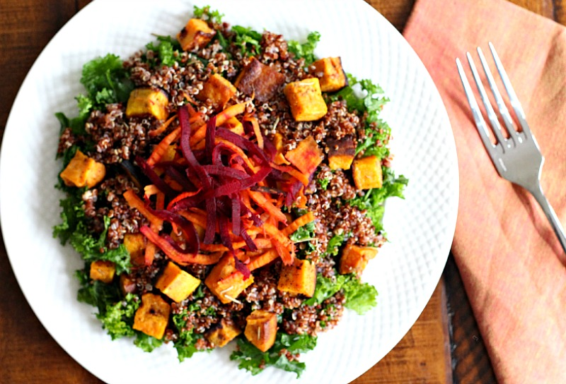 Sweet Potato and Red Quinoa Harvest Salad {Meatless Monday, Gluten Free, Vegan, Vegetarian, Meatless Meal/Recipe}