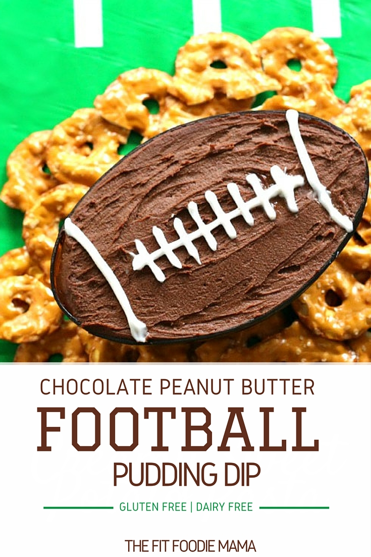 Chocolate Peanut Butter Football Protein Pudding Dip #MeatlessMondayNight {Meatless Monday, Gluten Free, Vegan, Vegetarian, Dairy Free, Protein Powder Dip, Monday Night Football Recipe, Tailgating Recipe, Super Bowl Party Recipe}