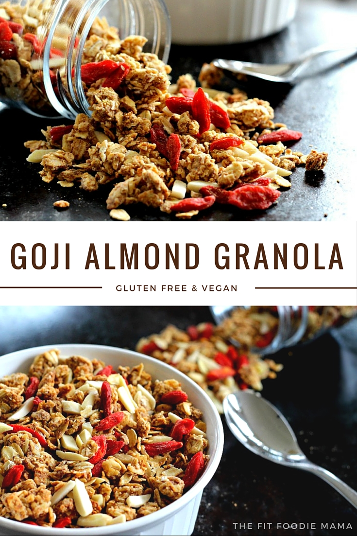Goji Almond Granola {breakfast recipe, gluten free, vegan, no added sugar, healthy, granola recipe, easy to make, homemade}