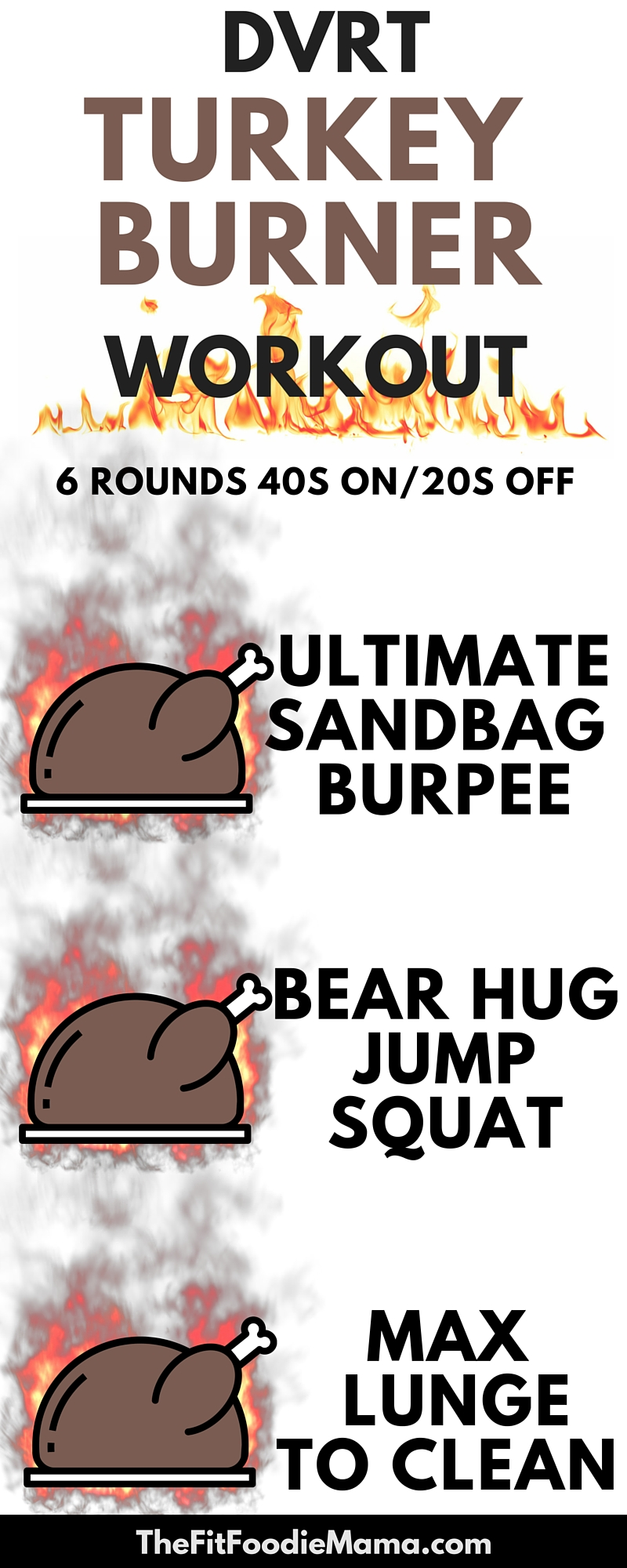 DVRT #UltimateSandbag Turkey Burner HIIT Workout.  Burn the Thanksgiving calories with this functional fitness Dynamic Variable Resistance Training Ultimate Sandbag high intensity interval training workout: USB Burpees, Bear Hug Squat Jumps, MAX Lunge to Clean.