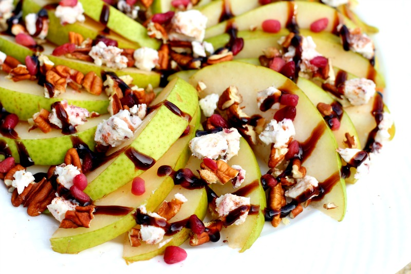 Balsamic Pear Nachos with Cinnamon Pecan Goat Cheese, Pecans, Pomegranate, and Balsamic Glaze. Gluten Free, Vegetarian, Healthy Snack, Pear Party Recipe}