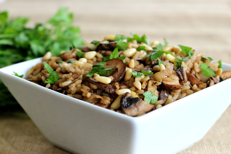 "Vegan and Gluten Free Hashweh ""Rice Stuffing"" Recipe perfect as a side dish or lunch for a Meatless Monday Meal . Made with portobello mushrooms, brown rice, pine nuts, cinnamon, cumin, Middle Eastern flavors."