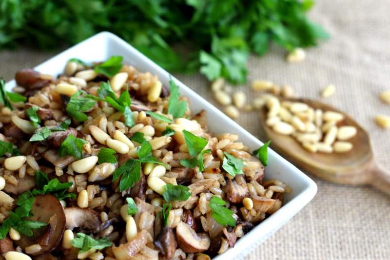 """Vegan and Gluten Free Hashweh """"Rice Stuffing"""" Recipe perfect as a side dish or lunch for a Meatless Monday Meal . Made with portobello mushrooms, brown rice, pine nuts, cinnamon, cumin, Middle Eastern flavors."""