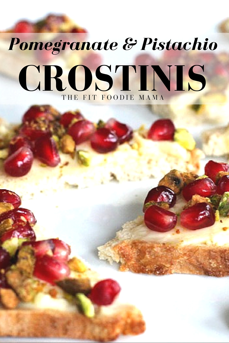 Pomegranate & Crushed Pistachio Crostini Appetizer Recipe {gluten free}