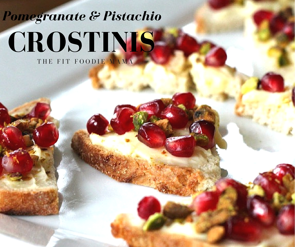 Foodie Friday: Pomegranate & Crushed Pistachio Crostinis {Gluten Free}