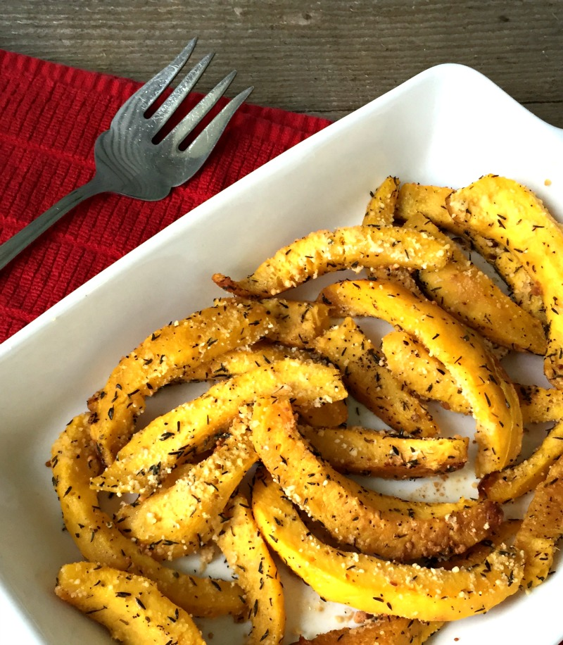 Parmesan Roasted Acorn Squash Recipe adapted from Real Simple Magazine {Gluten Free, Vegetarian, Meatless Monday, Dinner Recipe, Side Dish, Holiday Recipe, Appetizer}
