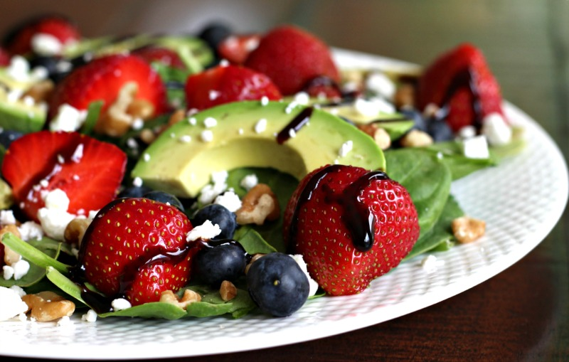 Strawberry Fields Salad made with blueberries and avocado