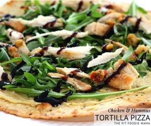 A no tomato sauce chicken and hummus tortilla pizza that's quick and easy to make on a weeknight or even for lunch. It's also gluten free and dairy free!
