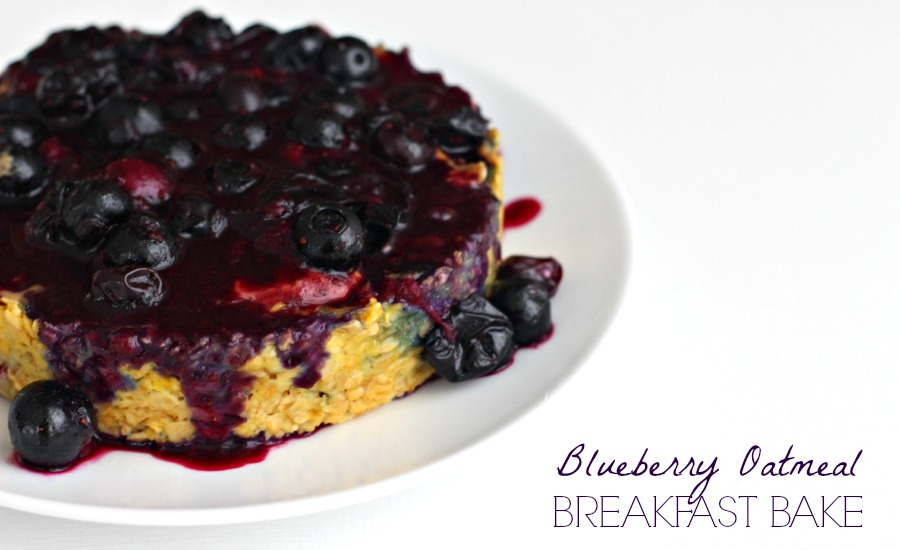 Blueberry Breakfast Oatmeal Bake with Protein {gluten free, dairy free}