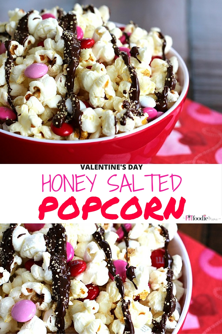 Valentine's Day Inspired Healthy Honey Salted Popcorn Recipe. Made with Nektar Naturals Honey Crystals it's the perfect sweet and salty Valentine's Day snack to treat the kids or sweetheart with.