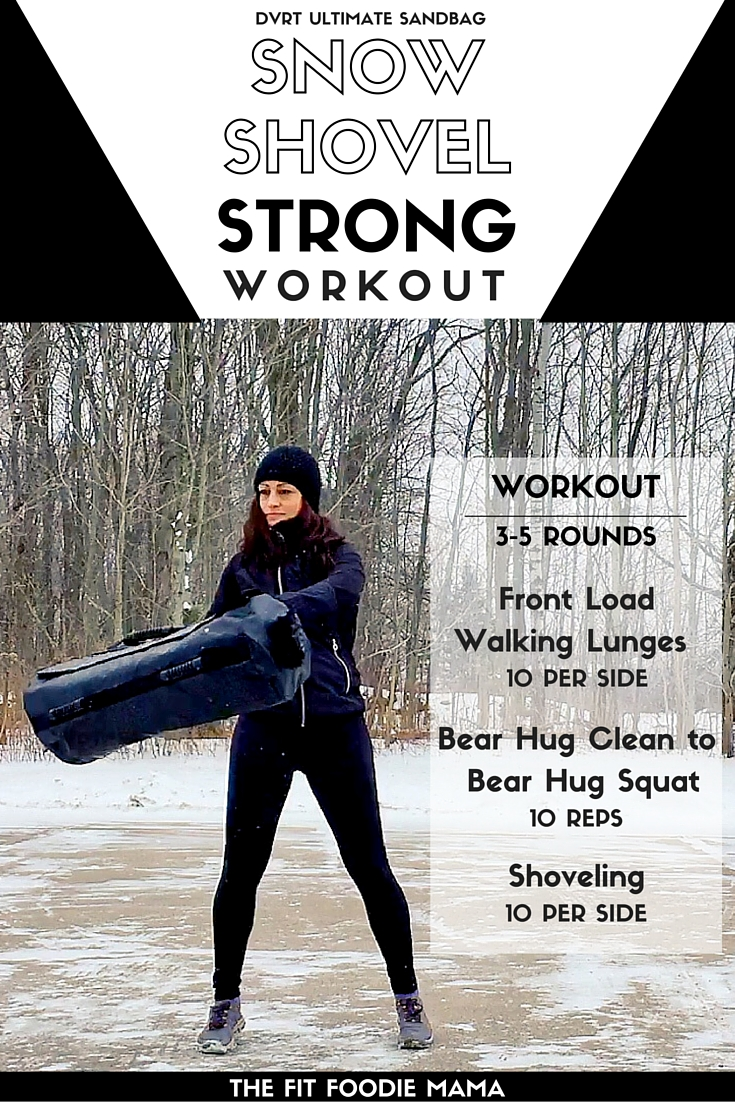 DVRT Ultimate Sandbag Snow Strong Workout. Snow Shovel Workout for functional fitness and training. Use this workout to prepare for real life strength such as shoveling snow. Exercises such as the front loaded walking lunges, bear hug cleans, bear hug squats and shoveling help to train for both strength and endurance. Be functionally strong, not just gym strong.
