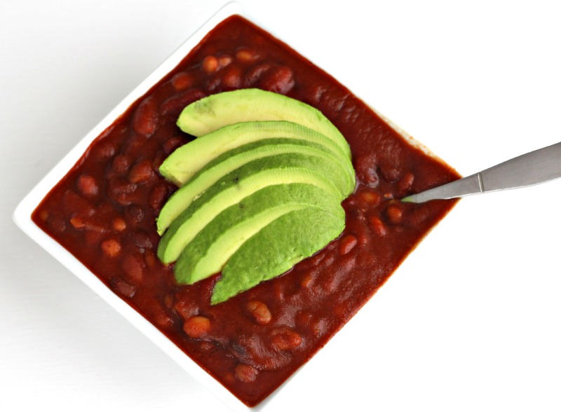 Vegan Three Bean Chili with Avocado