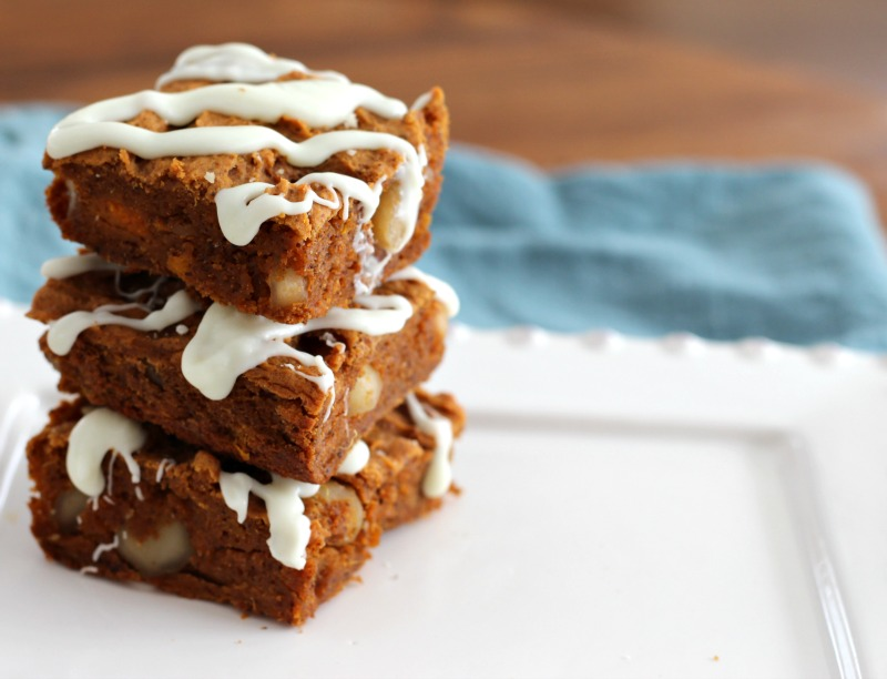 The best gluten free, flourless Sweet Potato Blondies. This recipe is super healthy, vegan, Paleo and perfect for a post-workout snack or way to refuel. Made with mashed sweet potatoes, almond butter and protein powder with macadamia nuts mixed in and dairy free white chocolate drizzled on top. Find recipe details on TheFitFoodieMama.com
