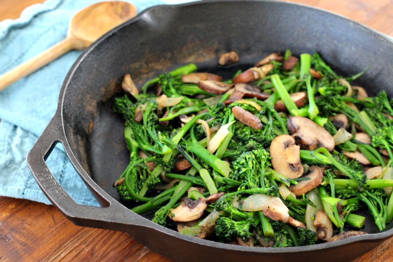 Light and Healthy Sauteed Broccolini & Mushrooms Recipe. Made in minutes, it's the perfect gluten free and vegan side dish for dinner or even a hearty Meatless Monday lunch! TheFitFoodieMama.com