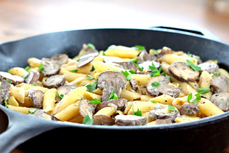 Dairy free and gluten free Vodka Alfredo Mushroom Penne recipe. Easy to make, done in under 20 minutes and it's healthy! Add it to your menu for Meatless Monday! TheFitFoodieMama.com